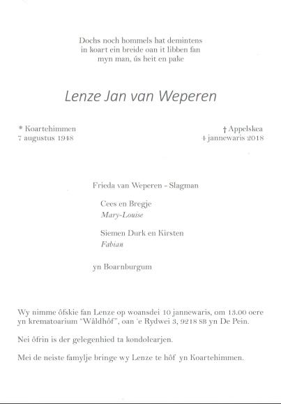 Rouwkaart Lenze van Weperen. januari 2018